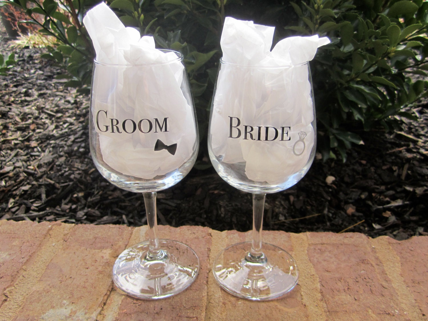 Engraved Wedding Gifts For Bride And Groom: Whimsical Bride/Groom Wine Glasses. Wedding Glasses