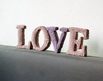 LOVE Crochet Patterns, 3D Letters Crochet Pattern, 3D Alphabet Crochet Pattern, Crochet Letters Pattern, Words Home Deco, DIY Letters