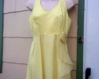 Vintage 1970s  Yellow Prom Dress Maxi Dress Boho Formal Bridesmaid  Small Mermaid Hem