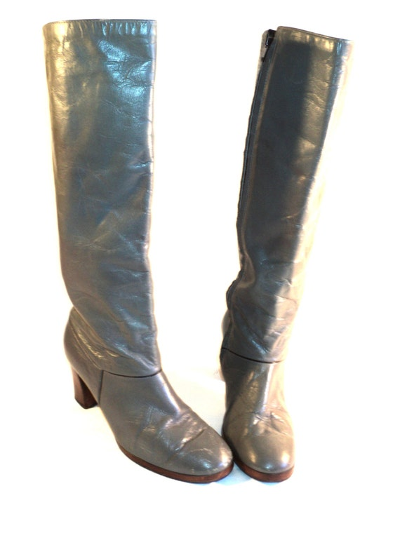 leather boots grey zippered knee high by