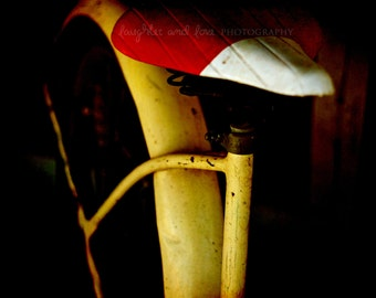 Bike Seat Photo, Modern Abstract Photography, Hipster Bicycle Print, Travel Picture, Red Yellow Dorm Bedroom Livingroom Home Decor Wall Art