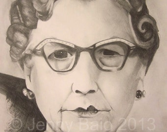 Beautiful Ethel - Original Pencil Drawing With Non-Dominant Hand