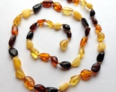 """GENUINE Baltic Amber ADULT Necklace - Multicolored Baltic Amber Beads- (18"""") - Ships FREE with another item - Mama / Daddy Necklace"""