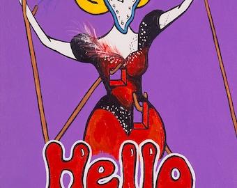 Hello Dali // Broadway Dali Hello Dolly surreal pun art - art print