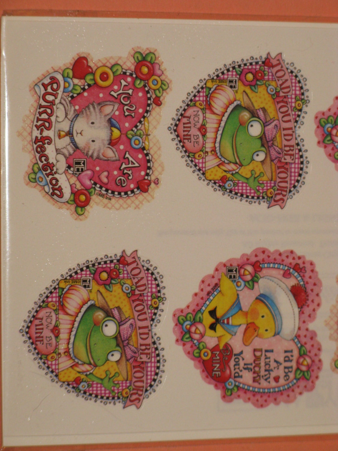 Mary Engelbreit Valentine Heart Stickers Kitty Duck Frog For