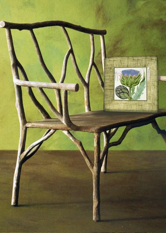 artichoke botanical print decorative plate - cottage kitchen decor - decoupage wall hanging