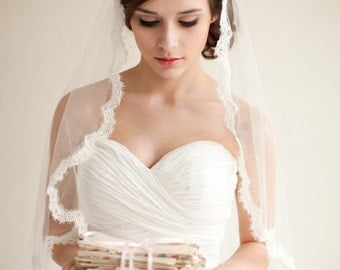 Silk Mantilla Veil with French Alencon Lace, Fingertip Veil, Silk Veil, Bridal Veil, Heirloom Veil - Grace  MADE TO ORDER- Style 7913