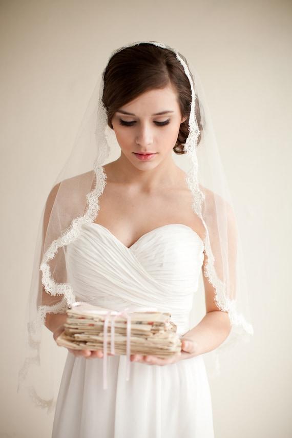 Silk Mantilla Veil with French Alencon Lace, Fingertip Veil, Silk Veil, Bridal Veil, Heirloom Veil - Grace  MADE TO ORDER- Style 7913