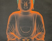 Printed Patch - Large Back GLOWING BUDDHA - Do Your Dharma - Sweeten Your Karma -Sew On p539