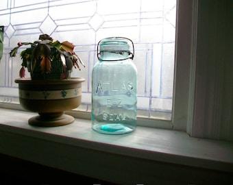 Vintage Blue Canning Jar Atlas E-Z Seal Quart with Glass Lid 1920s