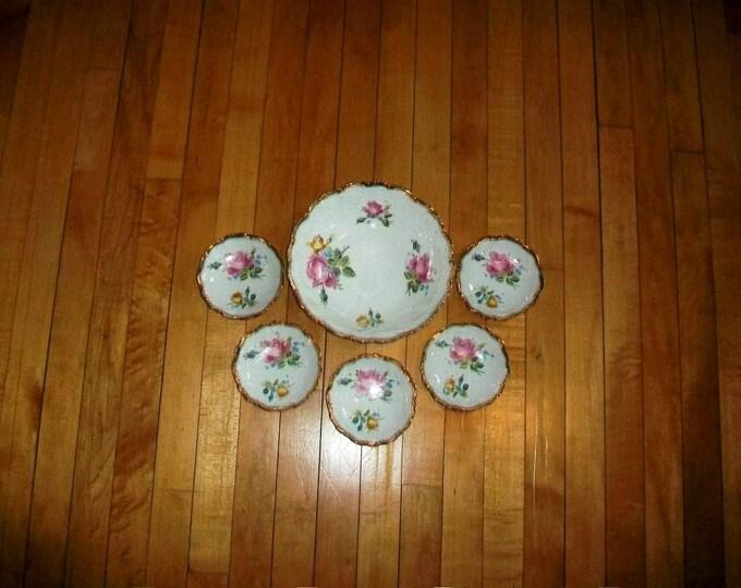Vintage Berry Bowl Set Roses On White w/ Gold Trim 1900s