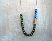 Wooden  Beads  Necklace Green - Blue