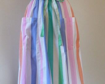 80's Preppy Pastel Midi Skirt Vertical Striped Big Pockets Tie Belt S