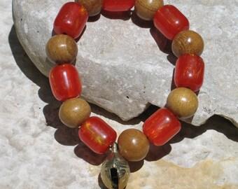 Half price mala style bracelet beeswax & nanka beads B009