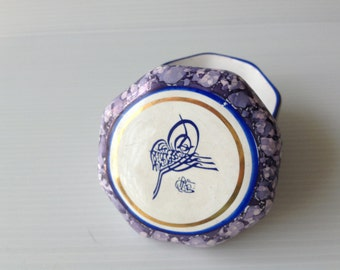 trinket box, heptagon tinket dish, old ottoman writing, violet blue trinket box, tughra