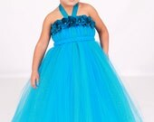 Flower Girl Tutu Dress - Turquoise - Topaz Twilight  - 12 Month to 2 Toddler Girl