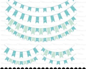 Aqua Banner clip art - blue ribbon clipart graphics, ribbon bunting scrapbook Aqua blue : c0248 3s2122