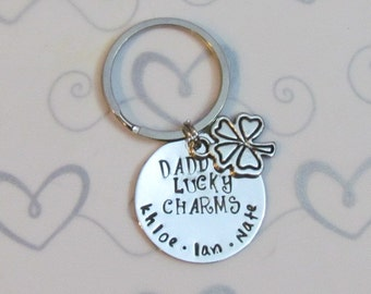 LUCKY CHARMS KEYCHAIN -Gift for DaD - Fathers Day  gift for Him - Organza gift bag included