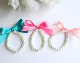 Girls Pearl Bracelet, Flower Girl Gift, Jr Bridesmaid, First Pearls Pearls and Ribbon Teal, Turquoise Blue, Peacock- FREE Gift Packaging