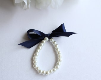 Pearls & Ribbon Bracelet Little Girl, Navy Blue, Midnight Blue, Flower Girl Gift, First Pearls Many Colors- FREE Gift Packaging
