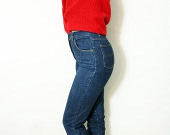 Vintage High Waist Dark Denim Cuffed Skinny Jeans