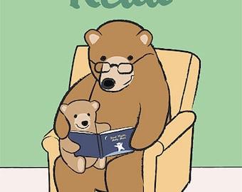Reading Nursery Art - Bear Print - Children's Art