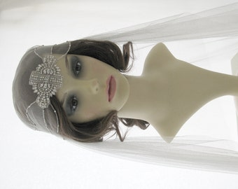 Couture bridal cap veil -1920s wedding  veil - Alice