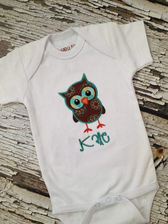 Monogrammed owl shirt embroidered short sleeve