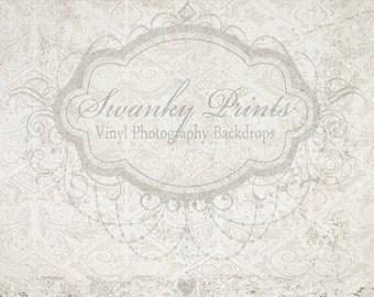 6ft x 4ft Vinyl Photography Backdrop / White Damask / Grunge Vintage Damask