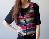 Vintage Vest Striped Vest Byer California Grunge Hipster Ethnic 70s 80s Small Medium