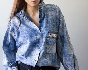 Studded Acid Wash Denim Shirt Vintage Grunge Rock Hipster Silver Studs Pocket Collar  On The Verge Women Men Unisex Large