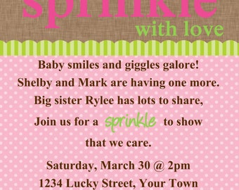 Sprinkle baby shower Bunting Banner Invitation Template 4x6