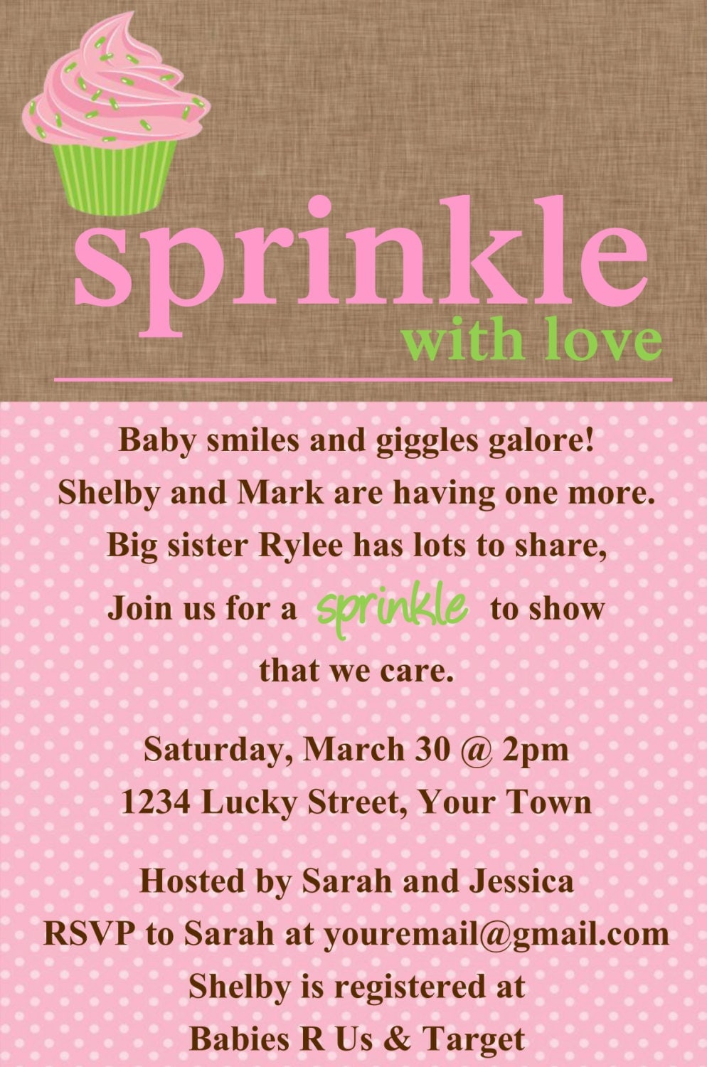 Sprinkle baby shower Cupcake Invitation Template 4x6