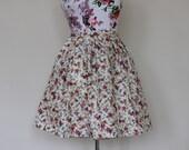 """Handmade floral high-waisted skirt UK 10 waist 28"""""""