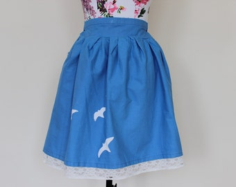 """CLEAR OUT !!! Handmade sky blue high-waisted skirt with lace underskirt and flying swallow birds size UK 6 waist 25"""""""