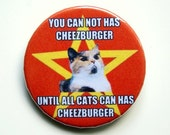 Lenin cat meme - button badge or magnet 1.5 Inch