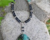 The Stone of Heaven - Azurite Pendant - Sparkling Grey Faceted Rondelle Beaded Necklace