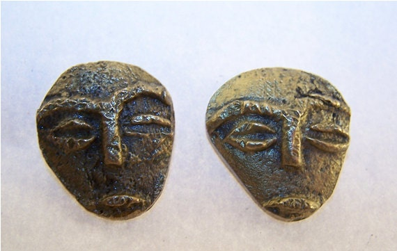 Vintage Stone Face Earrings Pierced