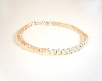 Seed Bead Bracelet, Peach Beaded Friendship Bracelet, Peach Bracelet, Sparkly Jewelry UK
