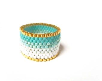 Turquoise Ombre Ring, Mint Beaded Ring, Seed Bead Ring, Ombre Jewelry UK