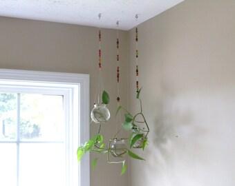 3 Hanging Glass Planters, Mobile Planter, Hanging Terrarium, Air Plant Hanger, Globe Planter, Hanging Globe Planter