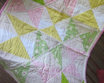 Pink and Green Hourglass quilt