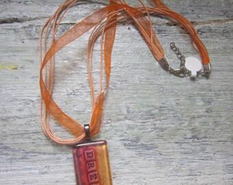 Dream- Glass Tile pendant necklace