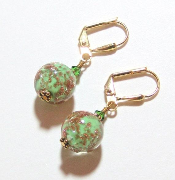Venetian Glass Green Ball Earrings, Murano Glass Leverback Earrings, Italian Jewelry