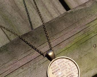 Peace Vintage Dictionary Print Handmade Cabochon Necklace--Graduation Gift