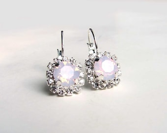 Swarovski Earrings. Crystal Clear and Rose Water Opal. Bridesmaid Gift. Simple Modern Jewelry by Smallbluethings