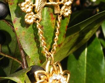 Spring Lovebird Floral Brooch