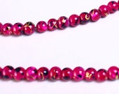 4mm Fuchsia black gold round glass opaque bead strand - 100 pieces (950) - Flat rate shipping