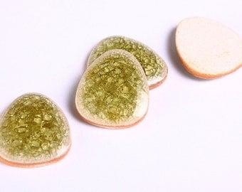 4 green yellow crackle porcelain cabochons flat drop cabochon 4pcs 20x16mm (1022) - Flat rate shipping
