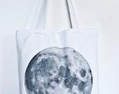 Moon Space Print White Tote Bag Canvas Shopper
